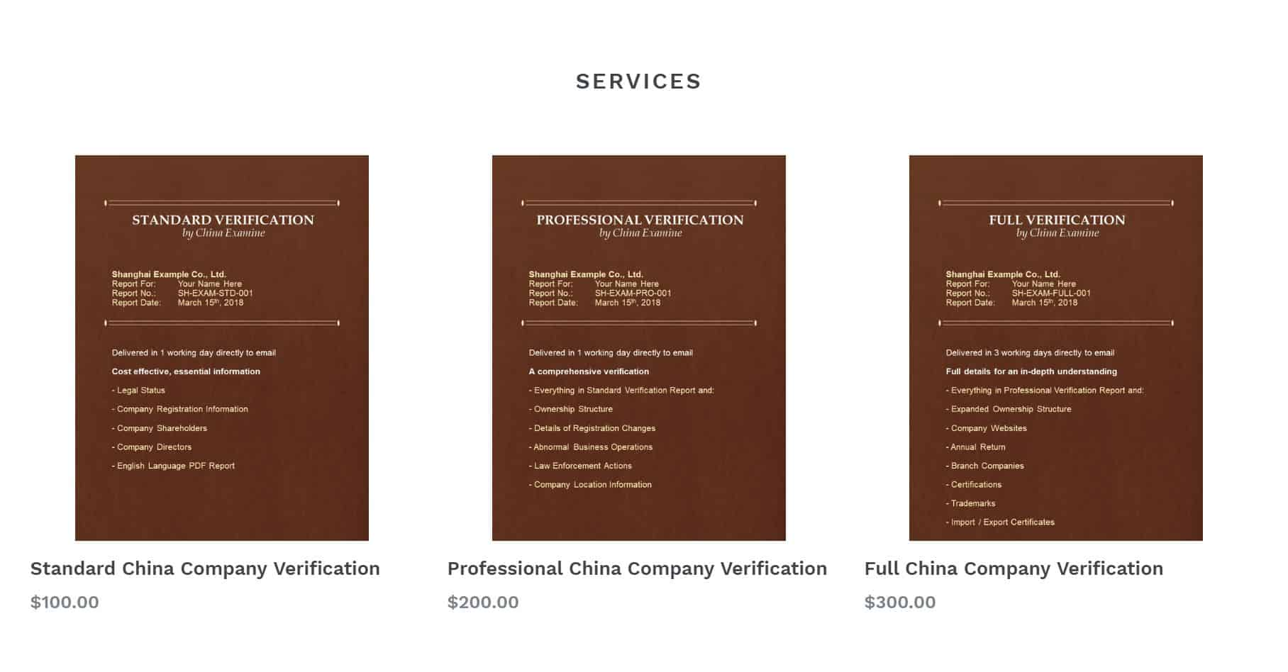 ChinaExamine services