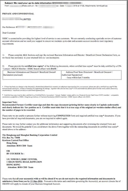 Maintaining good status with your hsbc hong kong bank account this is a hsbc letter inquiring for more information about the client they are asking basically to re verify the account and ensure this business and its thecheapjerseys Image collections